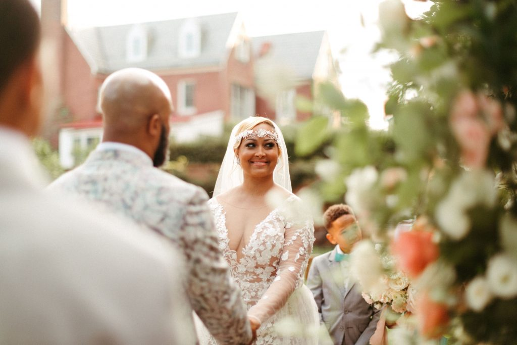 Bride smiling during her ceremony